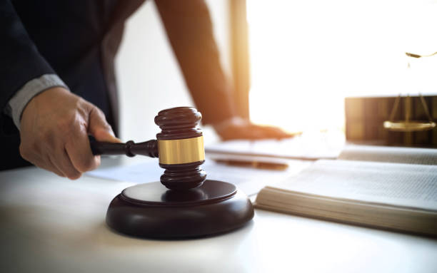 lawyer working with lawsuit in courtroom. stock photo