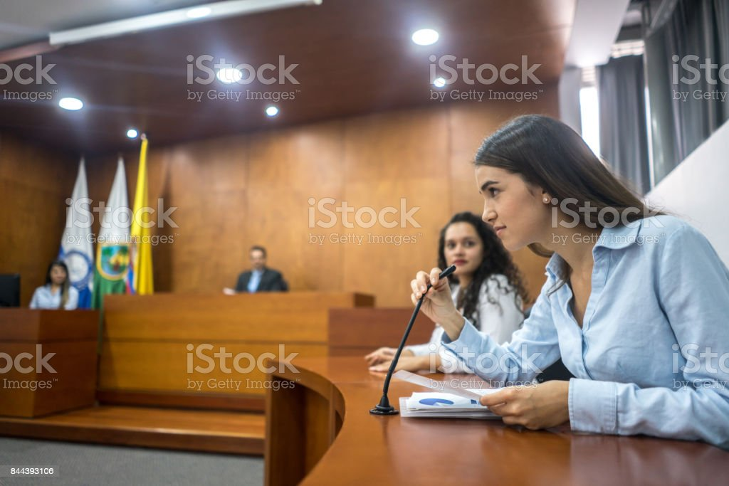 Lawyers addressing the court in a trial stock photo