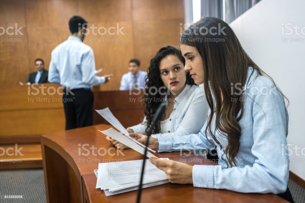 Lawyers in trial at the courthouse stock photo