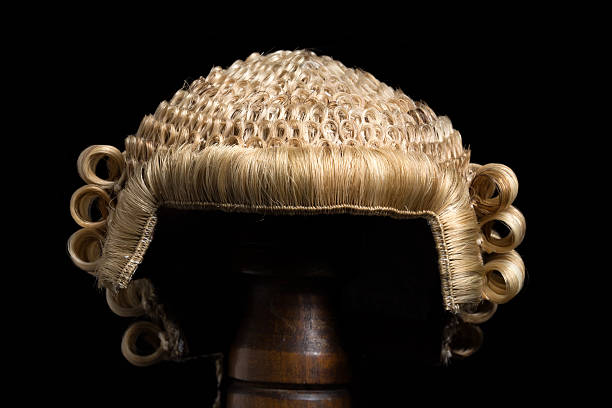 Lawyer's wig front stock photo