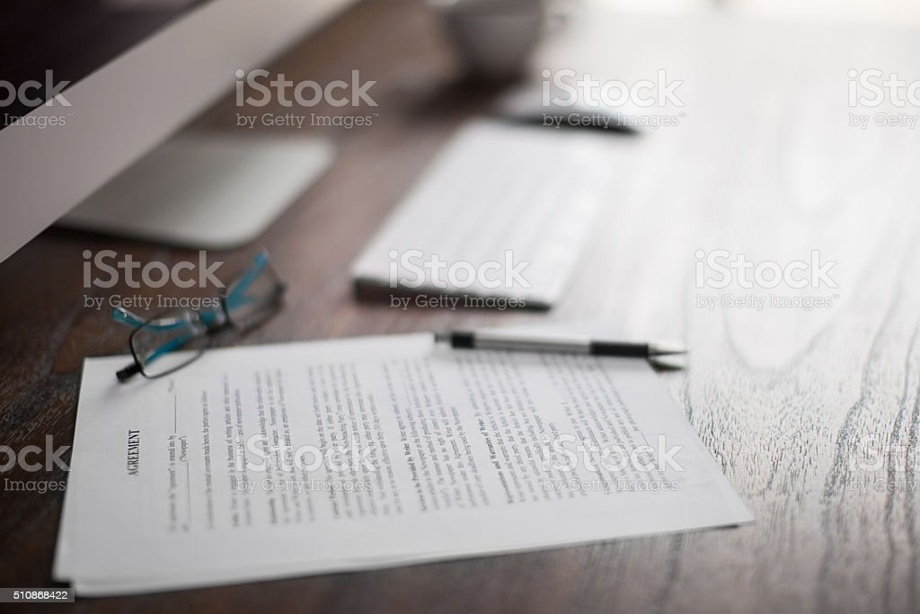 Lawyer's workspace up close stock photo