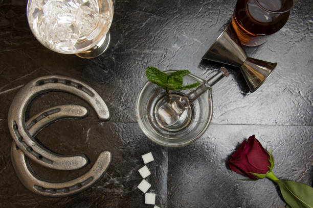 Lay flat of deconstructed mint julep stock photo
