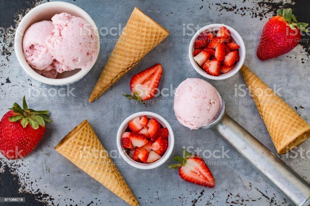Lay Flat Strawberry Ice Cream Fruit Summer Treat stock photo