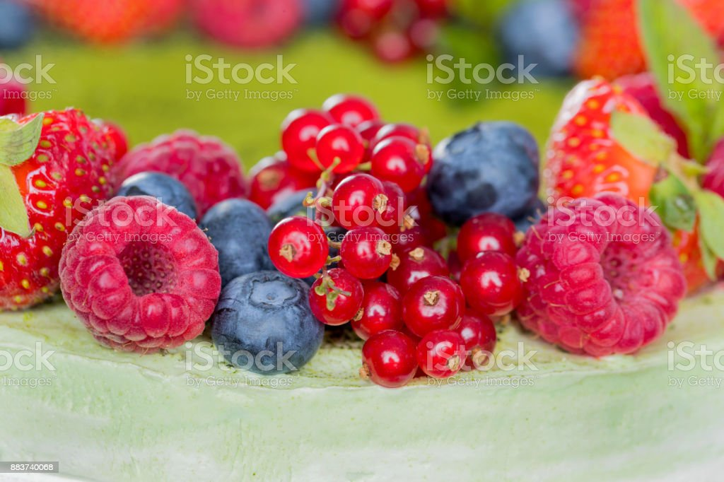 Layer cake garnished with berries stock photo