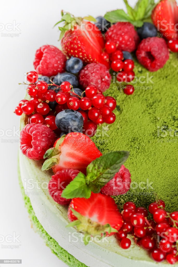 Layer cake with berries stock photo