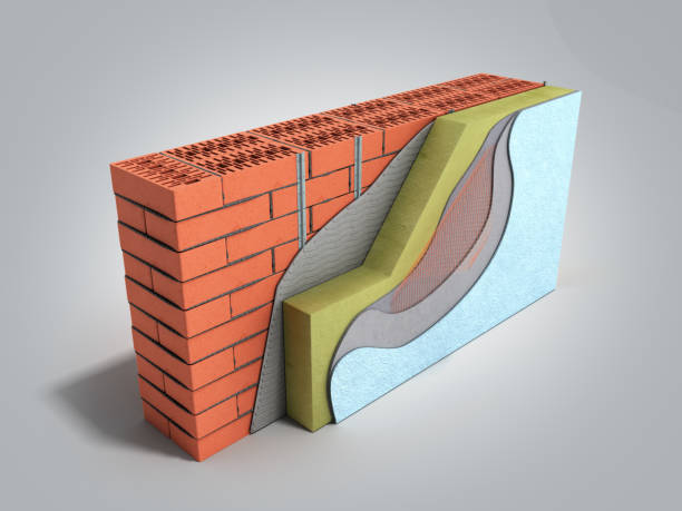 Layered brick wall thermal insulation concept 3d render on grey gradient background stock photo