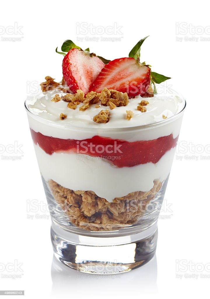 Layered cream dessert stock photo