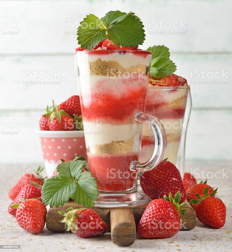 Layered dessert with strawberries royalty-free stock photo