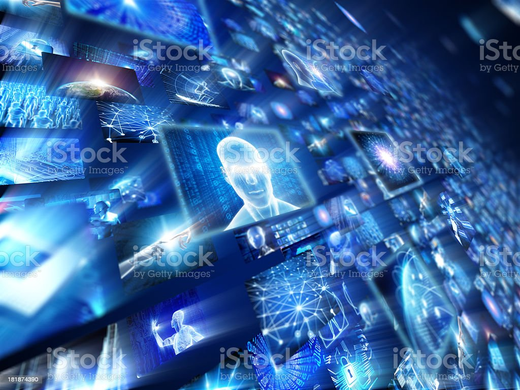 Layered image of video wall and hi-tech screens royalty-free stock photo