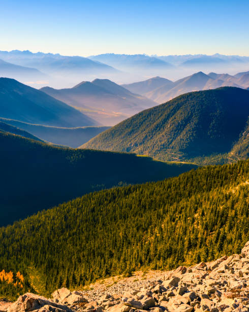 layered mountain landscape of pedley pass, british columbia, canada - british columbia stock pictures, royalty-free photos & images
