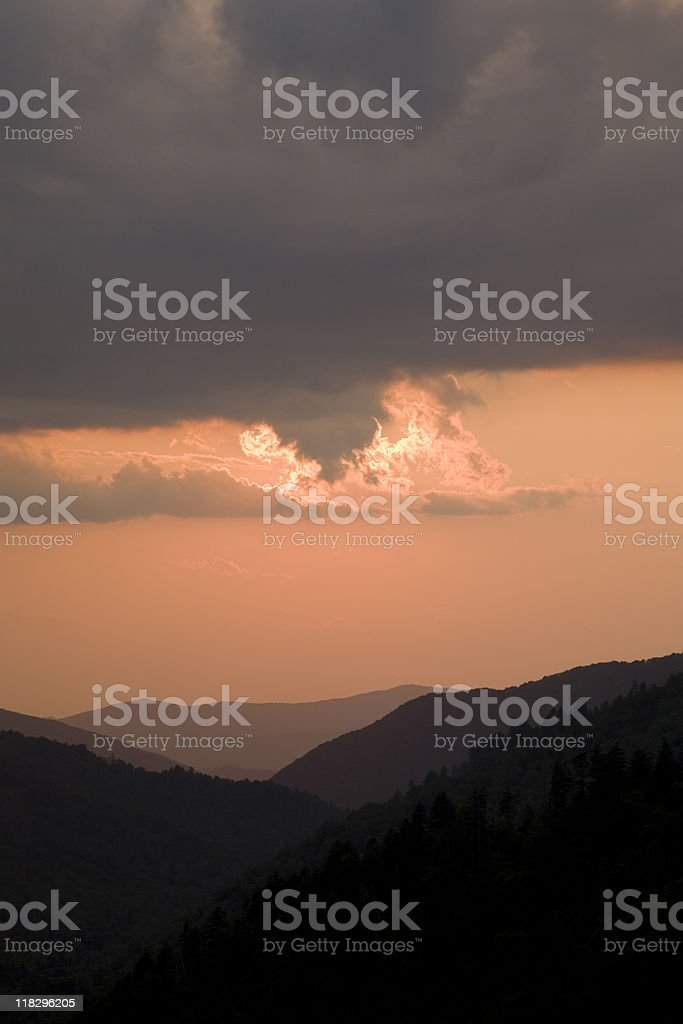 Layered Mountains, Sunset, Morton Overlook, Great Smoky Mtns NP stock photo