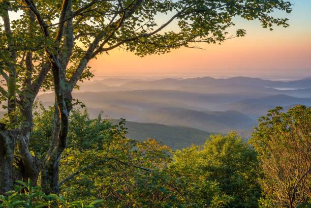 Layered ridges and morning light, Appalachian Mountains stock photo