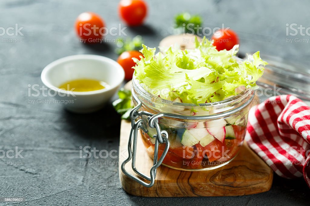 Layered salad stock photo