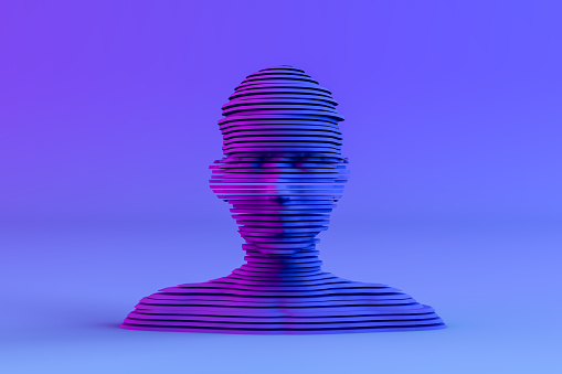 3D rendering Layered, Sliced Shape Cyborg, Artificial Intelligence, Machine learning Concept.