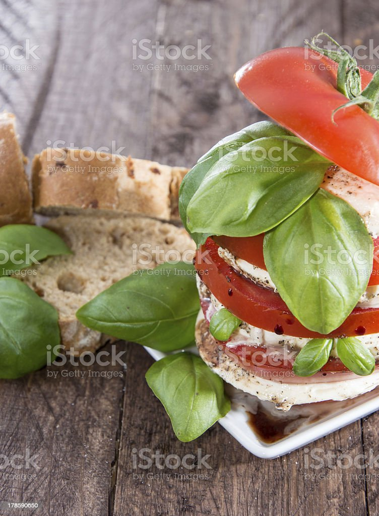 Layered slices of Tomato and Mozzarella royalty-free stock photo