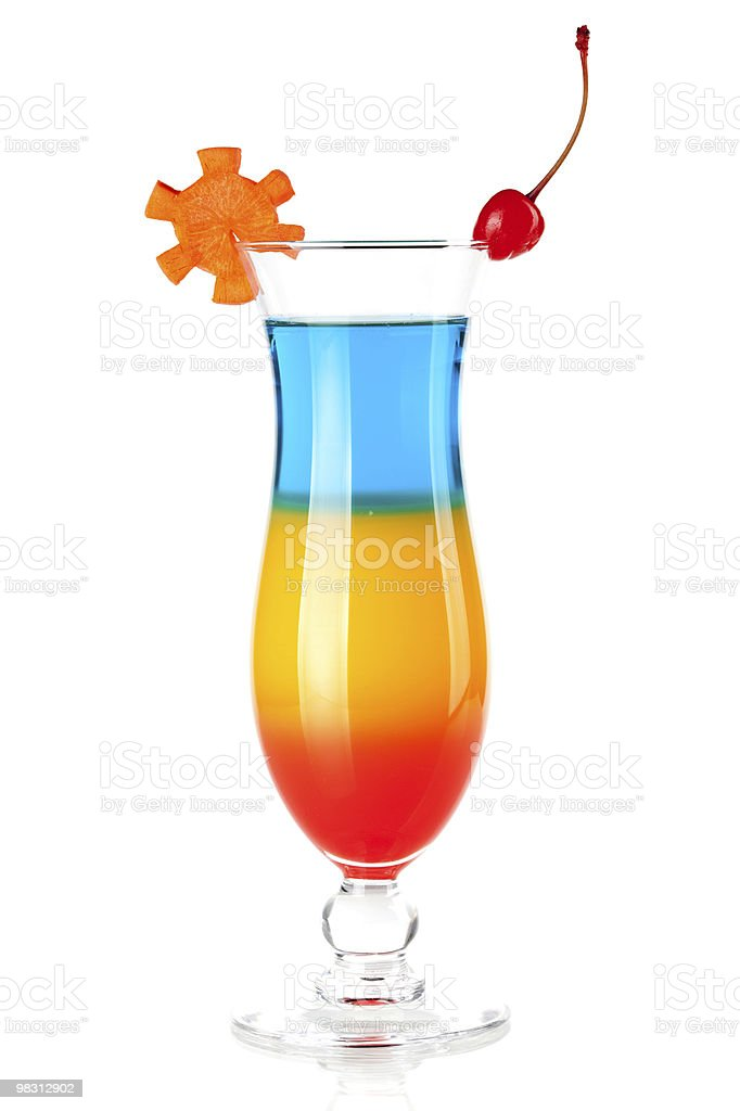 Layered tropical cocktail with decoration royalty-free stock photo