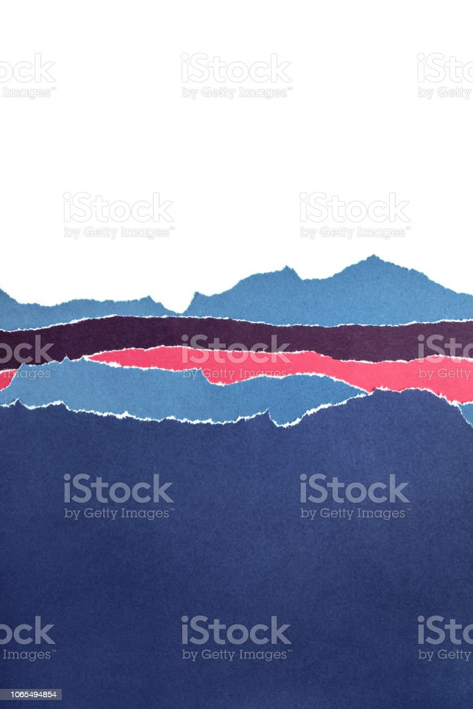 Layers of colored paper with torn edges. Abstract background
