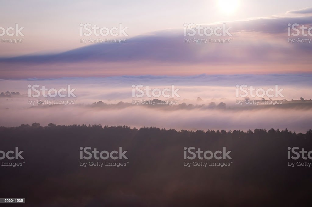 Layers of Fog at Dawn stock photo