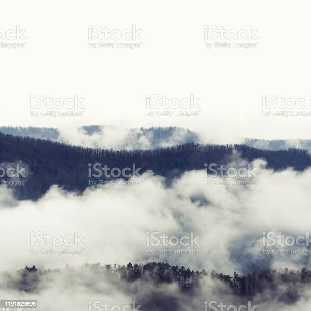Photo of Layers of forest ridges emerging form fog on a late autumn day