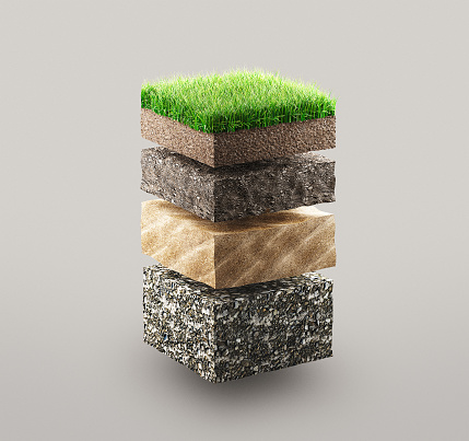 Layers of ground with grass, illustration concept