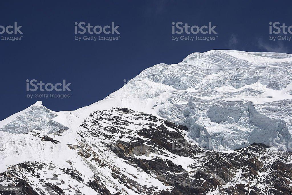 Layers of ice at mountain summit, Himalaya royalty-free stock photo