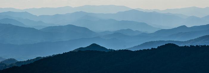 Vertical layers of mountain ridges in North Carolina.
