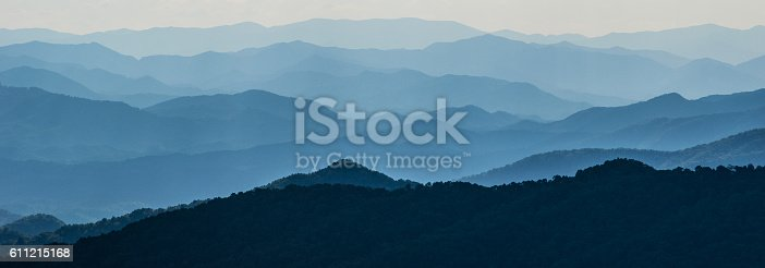 Vertical layers of mountain ridges in North Carolina.
