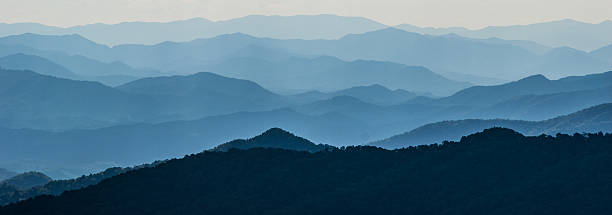 Layers of Mountain Ridges Vertical layers of mountain ridges in North Carolina. appalachia stock pictures, royalty-free photos & images