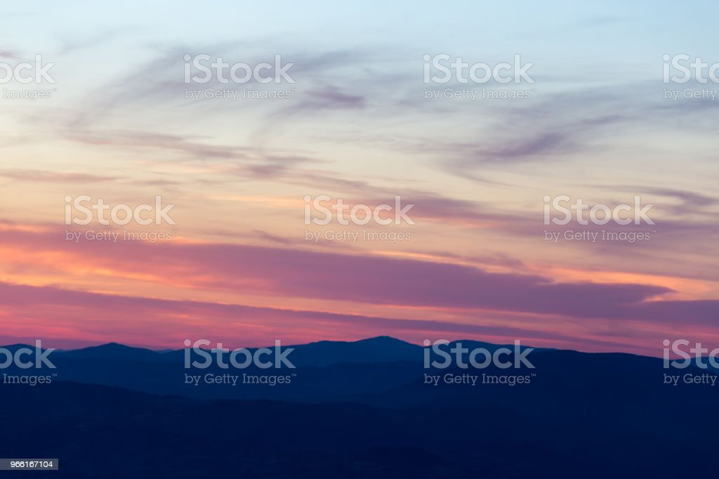 Layers of mountains and hills at sunset, with warm and soft tone - Royalty-free Abstract Stock Photo