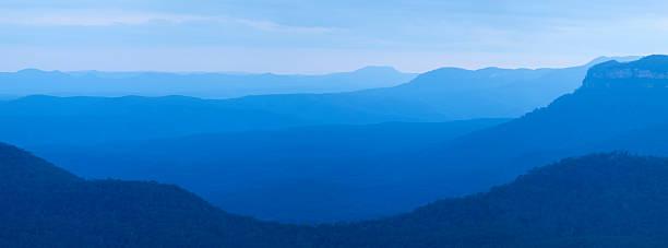 Layers of mountains at dusk, Blue Mountains, NSW, Australia stock photo