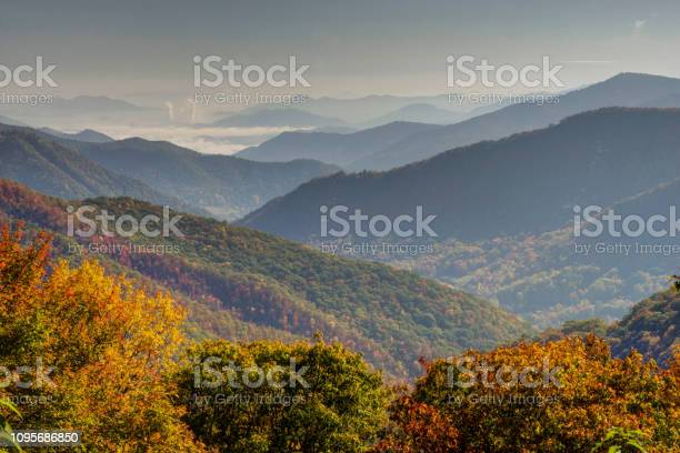 Photo of Layers of mountains in fall colors in the Smokies.