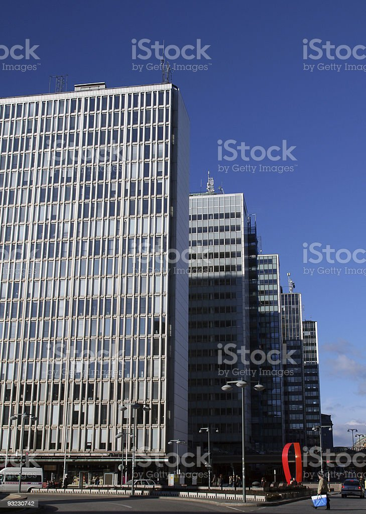 Layers of office buildings stock photo