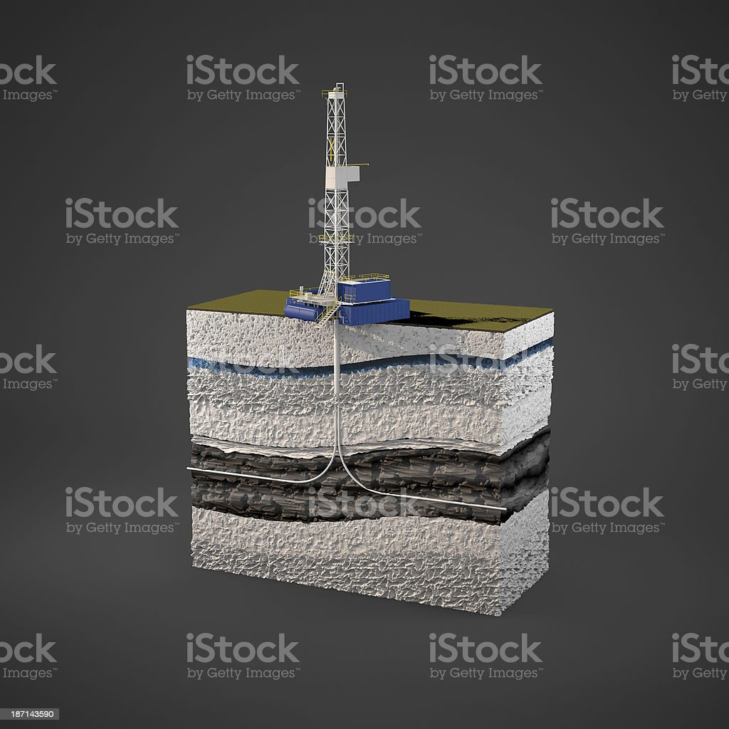 Layers of rock being fractured for natural gas stock photo
