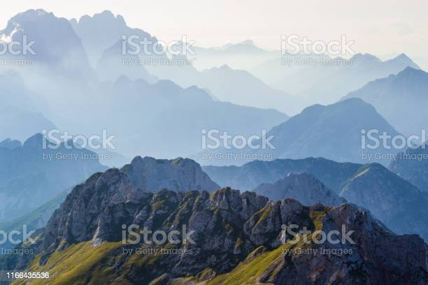 Photo of Layers of silhouettes of mountain ridges and peaks in the Italian Alps, at sunset. View from the route down from Mangart (Mangrt) peak, Julian Alps, Triglav, Slovenia.