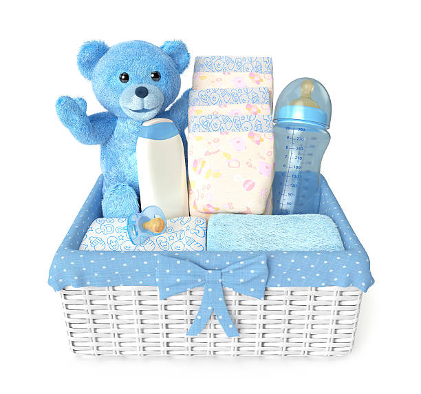 layette for baby boy stock photo