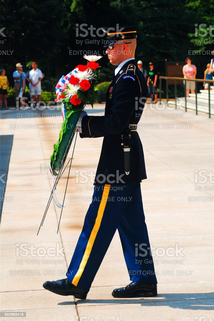 Laying a Wreath at the Tomb of the Unknowns stock photo