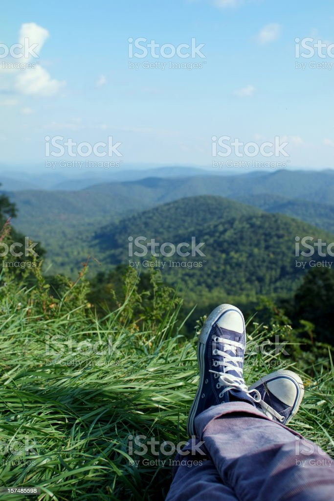 Laying Back and Relaxing on Vacation in the Mountains royalty-free stock photo