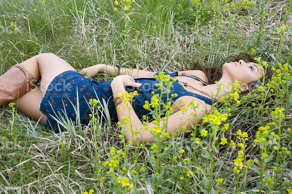 Laying Down In The Grass royalty-free stock photo