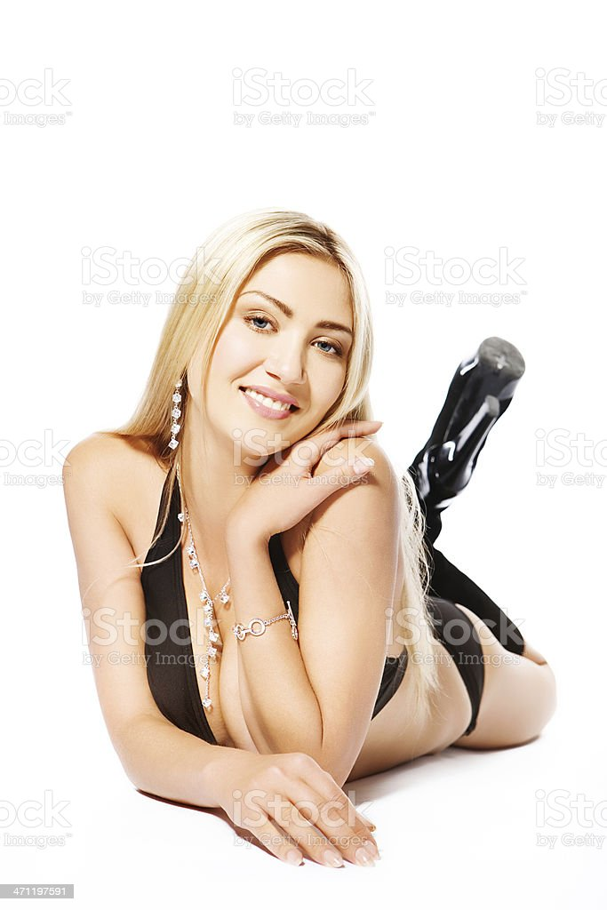 laying down smiling woman royalty-free stock photo
