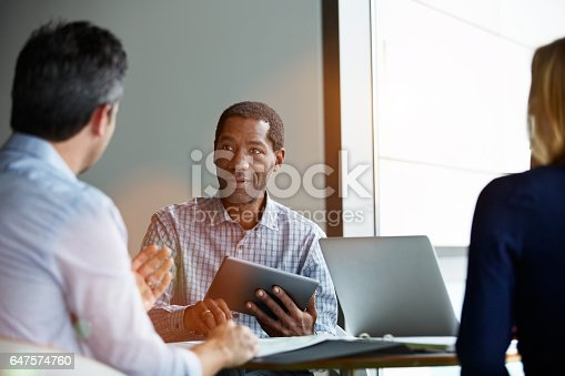 istock Laying out ideas to coworkers 647574760