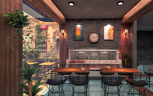 Layout Floor Plan Of Coffee Shop Restaurant Design Render By 3d Software Stock Photo Download Image Now Istock