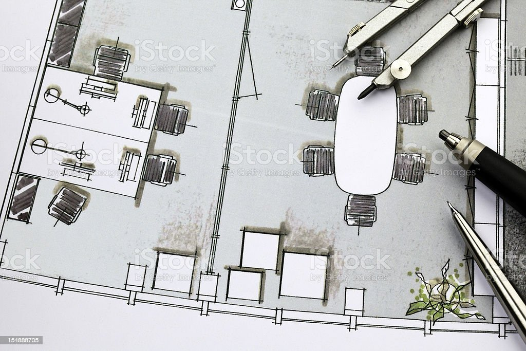 Layout of office interior design stock photo