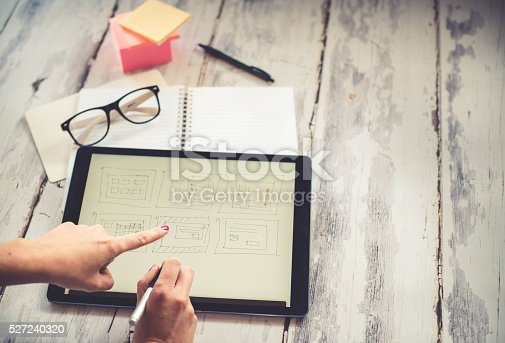 istock Layout sketch on digital tablet 527240320