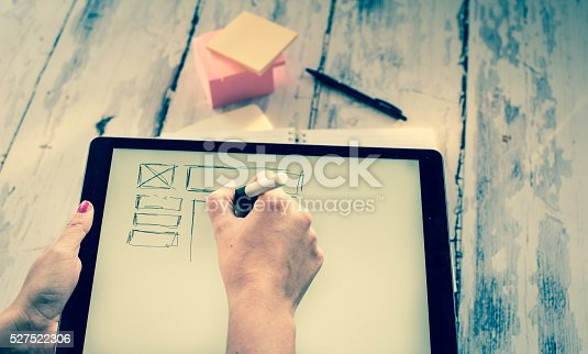 istock Layout sketch on digital tablet 527522306