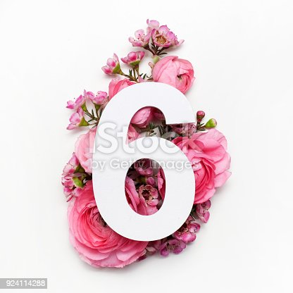 istock Layout with colorful flowers, leaves and number six. Flat lay. Top view. 924114288