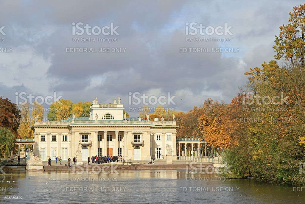 Lazienki Palace in Warsaw, autumn view stock photo