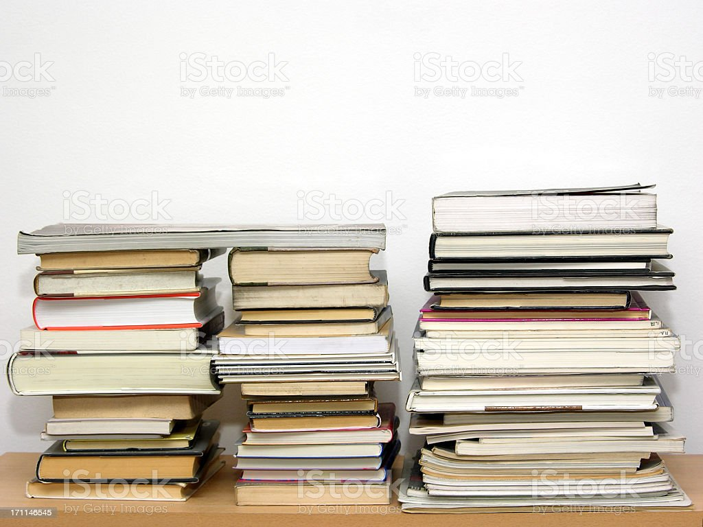 Lazy bookshelf royalty-free stock photo