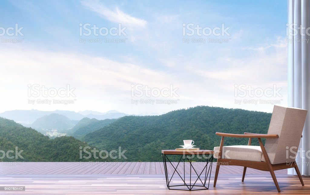 Lazy chair with mountain view 3d render stock photo