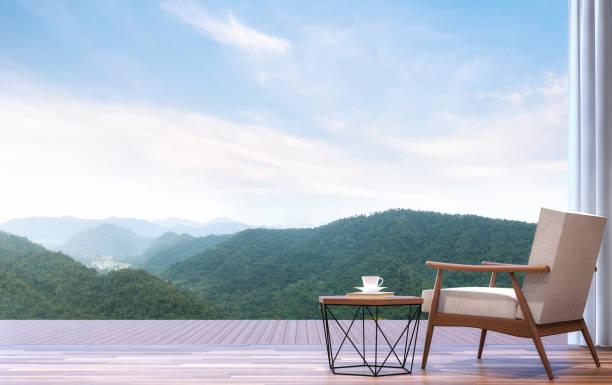 sessel mit blick auf die berge 3d render - hotel in den bergen stock-fotos und bilder