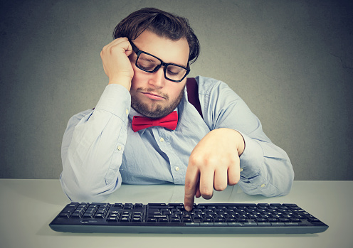 Lazy Chunky Office Worker Procrastinating Stock Photo - Download Image Now